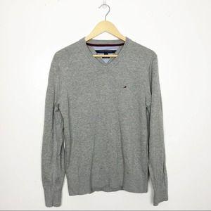 TOMMY HILFIGER | Gray V-neck Pima Cotton Sweater